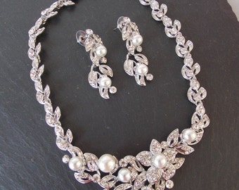 Silver Crystal Floral and Pearl Bridal Wedding Necklace and Earrings Set
