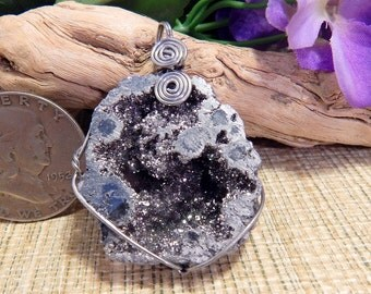 """2"""" Druzy Pendant Natural Druzy Geode Pendant Jewelry Wire Wrapping Crafts Healing Stone Neckalce"""