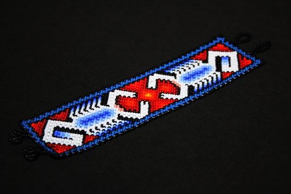 Huichol Tribal Bracelet, Native American Scorpion Bracelet, Mens Cuff Bracelet, Traditional Seed Bead Bracelet, Hippie Bracelet, Authentic