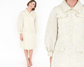60s Metallic Ivory Party Dress | Silver Gold Lame Shirt Dress | Medium