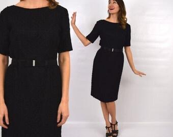 60s Black Ribbon Dress | Wiggle Party Dress | Ribbon Lace Dress | Medium