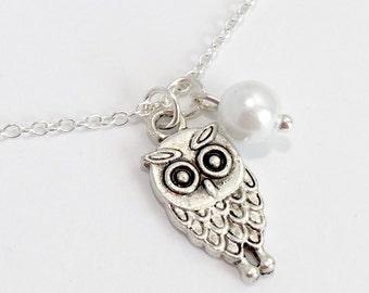 Silver Owl Necklace/Antique Silver Owl Necklace/Owl and Pearl Necklace/Owl and White Pearl Necklace
