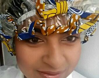 Blue, Saffron Yellow & White African Print Shower Cap