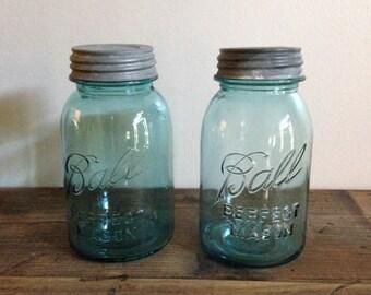 Two Vintage Blue/Aqua Ball Perfect Mason Jars with Zinc Lids M459-3