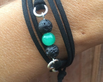 Lava Bead Essential Oil Diffuser Bracelet | Vegan Wrap Diffuser Bracelet | Faux Suede Wrap Bracelet | Green Glass Bead