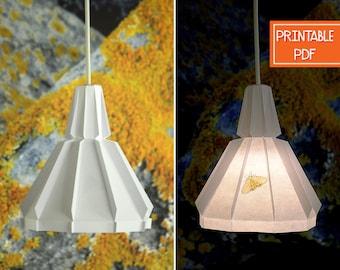 Paper Pendant Light | Yellow Moth | Printable DIY Lamp, Geometric Lighting, Origami Lampshade, Paper Light Shade