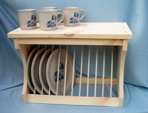 Plate Rack Wood wooden wall mount or counter by