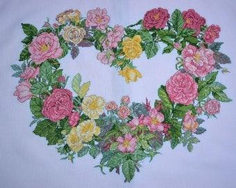 "Roses Heart Wreath Cushion Cover,needle work,18 x 20"""