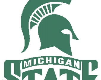Michigan State Spartans Logo -- Counted Cross Stitch Chart Patterns, 4 sizes!