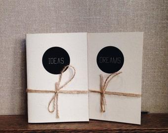 2 Handmade Notebooks - Dreams & Ideas - Journal