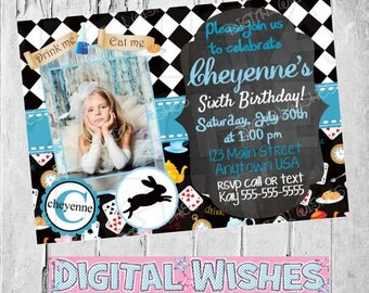 Printable Alice in Wonderland with photo Birthday Invitation PERSONALIZED any name and AGE digital file