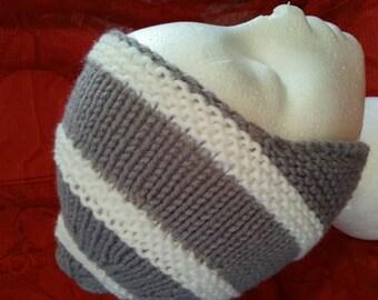 Kids hat handknit Child's hat steel Gray with white.