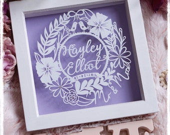 Wedding - Anniversary - Engagement - Mr and Mrs - Paper Cut Gift