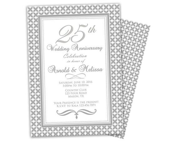 25th Wedding Invitations: 25th Wedding Anniversary Invitation Surprise Anniversary