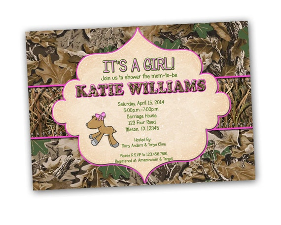 camo girl baby shower invitations doe shower invites girl baby