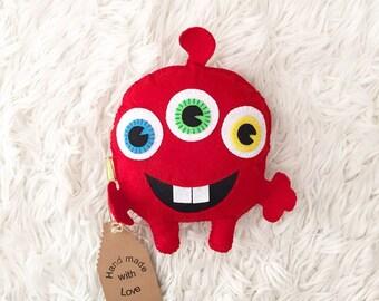 Funny monster. Handmade toys. Baby gifts. Felt toy. Felt monster. Handmade monster.