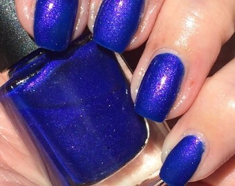 Dish it Out - royal blue withpink/purple shimmer mail polish