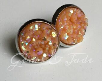 Large Orange Sherbert faux Druzy earrings