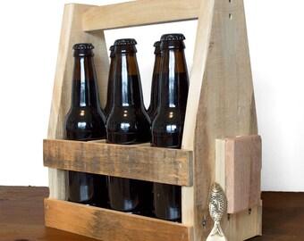 Beer Caddy - Wooden Beer Carrier - 6 Pack Carrier - Home Brewing - Vintage Fish Bottle Opener - 6 Pack Holder - Beer Gift Idea - Beer Lover