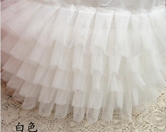 "Lace Trim Ivory 5 Layers Ruffled Tulle Bridal Wedding Fabric 6.69"" width 1 yard"