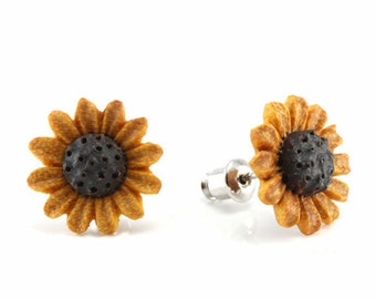 "Hand Carved - ""Sunflower"" - Jackfruit with Sabo Wood Inlay Stud Earring - Urban Flowers"