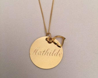 mothers day gift, Personalized Disc Necklace, Gold Initial Disc Necklace, Engraved Initial Necklace, gold disc necklace, Gift for her
