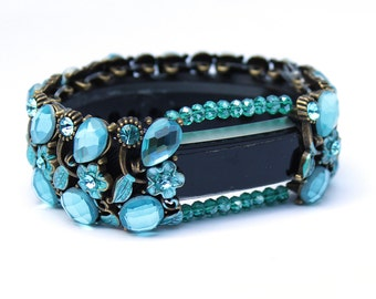 FitBit Alta Bracelet: Absolute Aqua Crystals and Flowers with Window