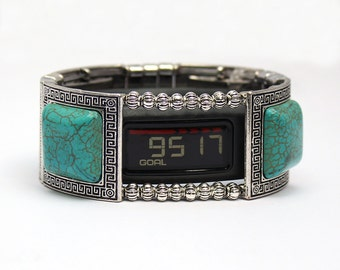 Garmin Vivofit 1, Vivofit 2, and Vivofit 3 Bracelet: Turquoise and Silver Greek Key with Window