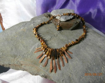 Tiger's Eye and Copper Tribal Necklace, Graduated Tiger's Eye Bars, Tiger's Eye Nuggets, Rose Gold 4mm Rounds and Clasp.