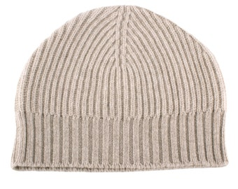 Mens Ribbed 100% Cashmere Beanie Hat - Light Natural - handmade in Scotland by Love Cashmere
