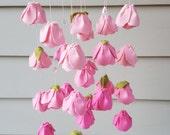 customizable chandelier Rose flower baby mobile, flower nursery decor, Playroom decor