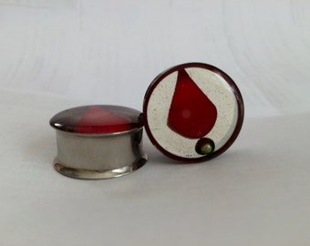 """SALE** 7/8"""" Peruvian Coral and Pearl handmade plugs"""