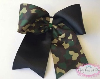 Camo Cheer Bow, Camouflage Cheer Bow