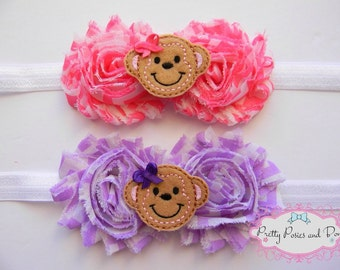 Monkey Headband, Pink Monkey Headband, Purple Monkey Headband, Monkey Felt Headband