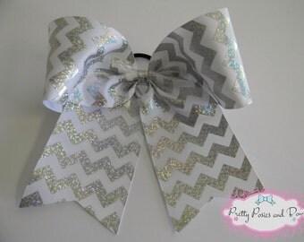 White Cheer Bow, White Sparkly Cheer Bow, Chevron Cheer Bow
