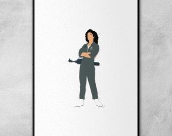 Alien | Ellen Ripley | Sigourney Weaver | Minimal Artwork Poster
