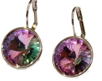 Swarovski Elements Crystal Vital Light Bella Earrings - Silver Plated Dangle Earrings with Lever Back Closure