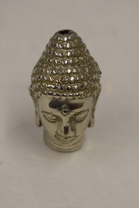 Buddha Head Bead Silver Handmade Necklace Creative Jewelry Spiritual Enlightenment Bead Buddha