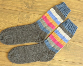 Hand Knitted Socks for Men. Size 11-12. Regia Self Striping Yarn. Virgin Wool and Polyamide.