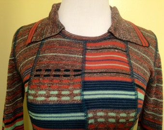 1970s knit sweater.shirt.top.size extra small.small.xs.sm.striped.collar.pullover.mod.hippie.vintage.womens.patchwork.blue.marcia brady.red