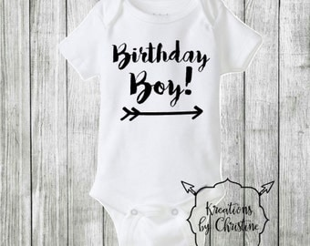 SALE - Birthday Boy Bodysuit, half birthday boy outfit, first birthday boy, Half birthday, Birthday outfit
