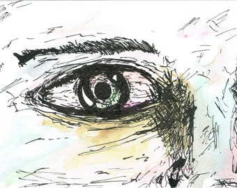 Expressive Watercolour and Ink Eye