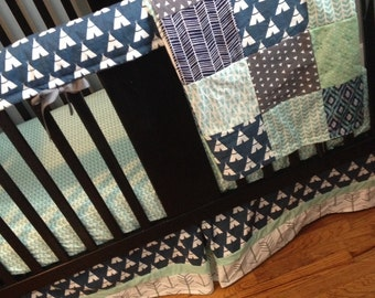 Custom Crib Bedding Set, Made to Order,  gray, navy, white, and mint, teepees and arrows,crib skirt, sheet, baby blanket