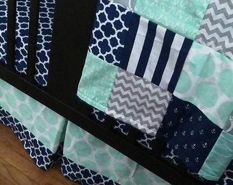 Custom Crib Bedding Set, Made to Order, Mint, gray, navy, nautical, crib skirt, sheet, baby blanket