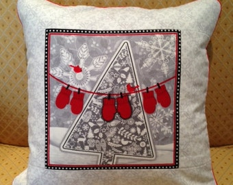 Grey, Red, White Tree with Mittens Pillow Cover