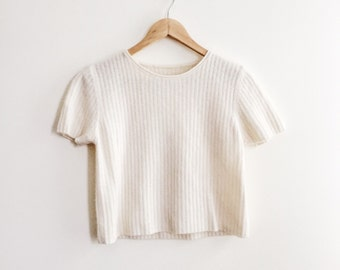 ribbed fuzzy cream crop top shirt // vintage 90s 80s