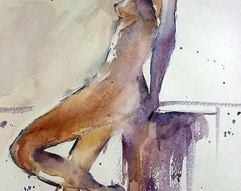 Etude. Nu. 3. Original Contemporary watercolor painting