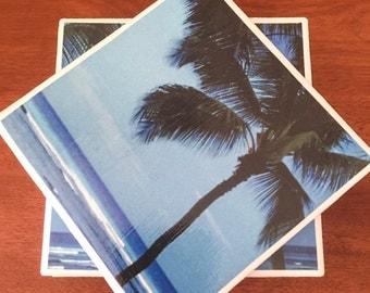 Ocean tile coasters, palm tree tile coasters, ceramic tile coasters, tile coasters, coaster set, table coasters