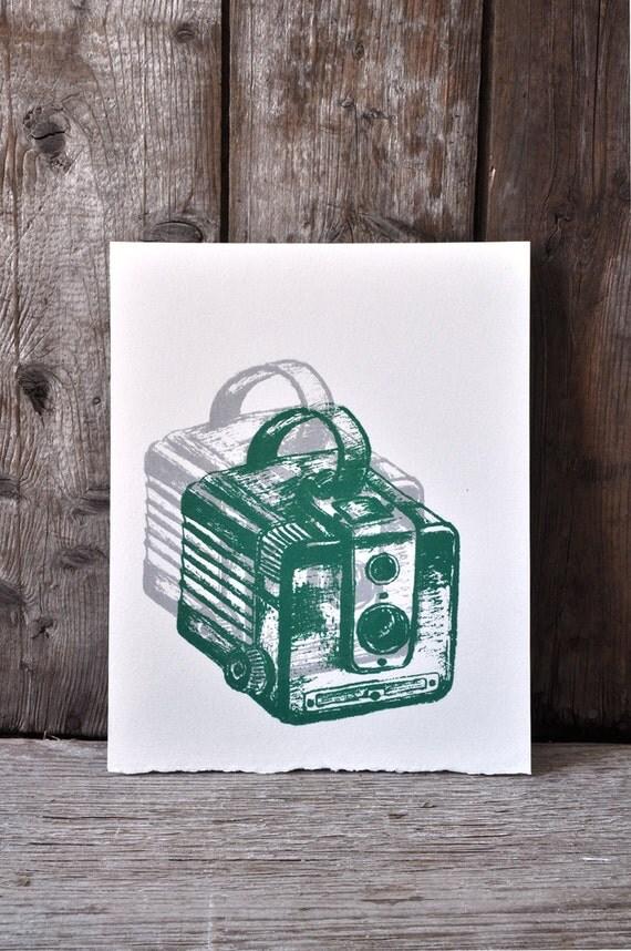 Camera #33, hand pulled silkscreen print, Kodak Brownie, 8 x 10 inches, open edition.