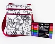 Color Me Bag - Coloring Bag - Kids Messenger Bag - Kids Sling Bag - Messenger Bag - Color Your Own Bag - Mini Messenger Bag - Color a Bag